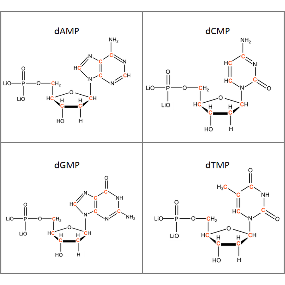 Set of 13C-labeled dNMPs,  4x50mg
